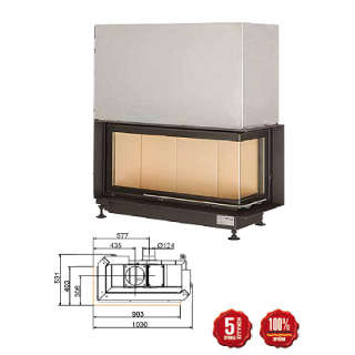 Steel energy-efficient fireplace Eck Kamin 38/86/36 s R/L