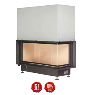 Steel energy-efficient fireplace Eck Kamin 45/101/40s