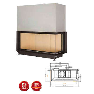 Steel energy-efficient fireplace Eck Kamin 53/121/50 s R/L