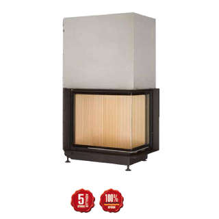 Steel energy-efficient fireplace Eck Kamin 57/67/44 s R/L