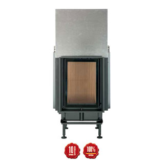 Cast-iron energy-efficient & thermodynamic fireplace HKD 2.2 f/s straight sliding door