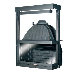 Cast-Iron Energy-Efficient & Thermodynamic Fireplace ΚΕ 750 Δ Corner-Mounted
